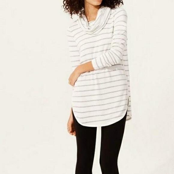0b3027b8cfd Lou & Grey Sweaters | Lou Grey Striped Cowl Neck Top | Poshmark